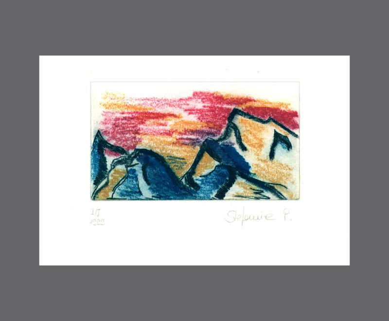 Berge<br />Farbradierung, Weichgrund und Kaltnadel, 4 Druckplatten – Bildformat ca. 14 x 11 cm