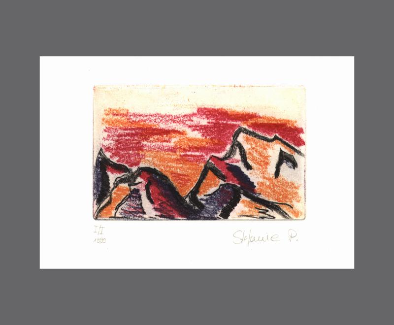 Berge<br />Farbradierung, Weichgrund und Kaltnadel, Druckplatten – Bildformat ca. 14 x 11 cm