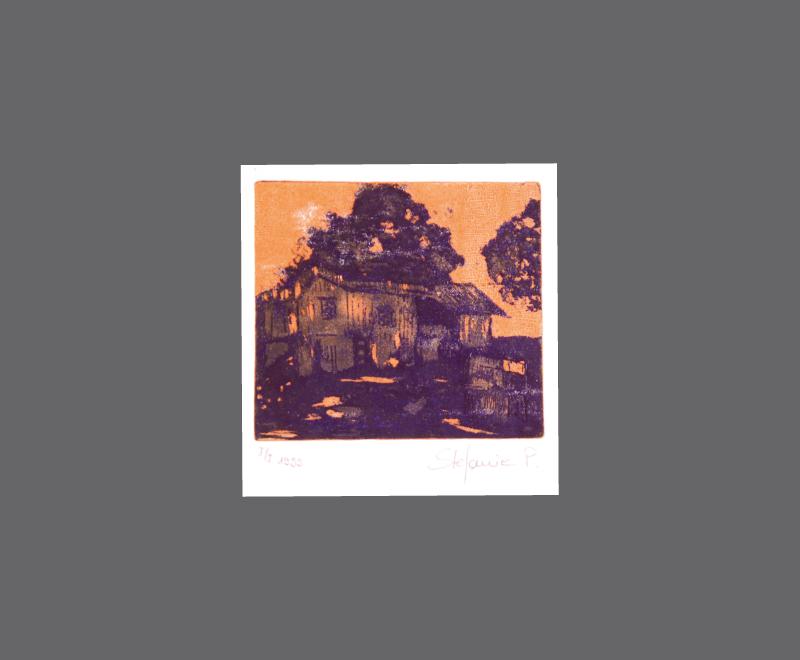Haus auf Hawaii mit orangefarbenem Hintergrund<br />Radierung, Zuckertusche und Aquatinta – Bildformat ca. 14 x 17 cm