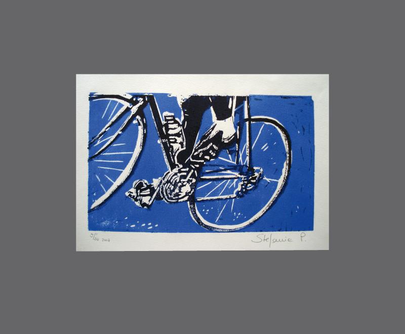 Keep on cycling<br />Linolschnitt, 2 Druckplatten – Format ca. 20 x 15 cm