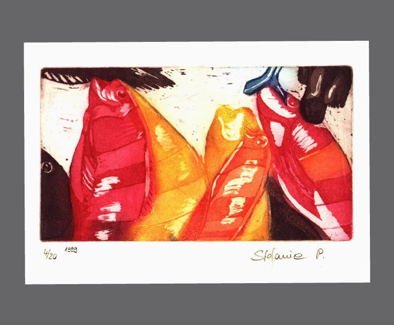 Fische, 1999<br />Radierung und Aquatinta auf mehrfarbig eingefärbter Druckplatte, Format  ca. 23 x 15 cm