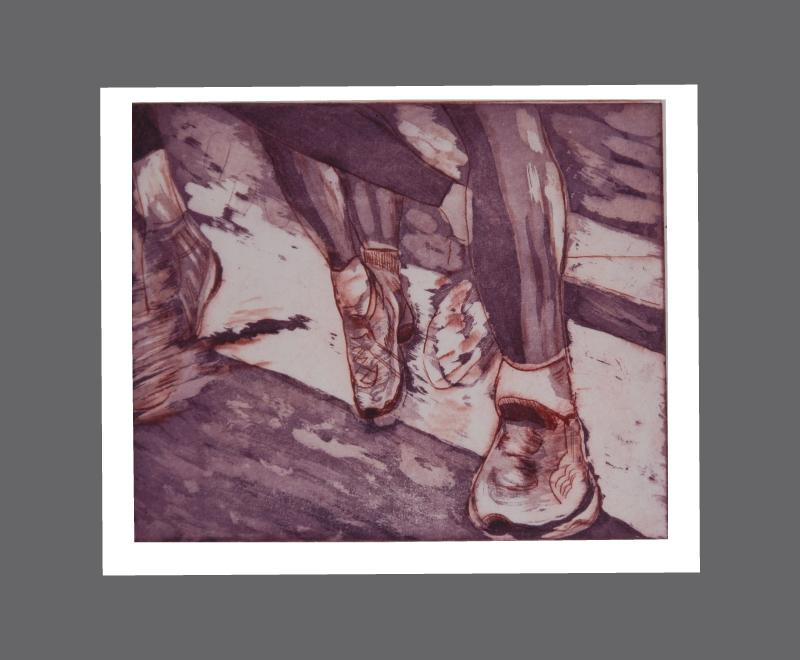 Läuferbeine<br />Radierung und Aquatinta, 2 Druckplatten, Format ca. 23 x 23 cm