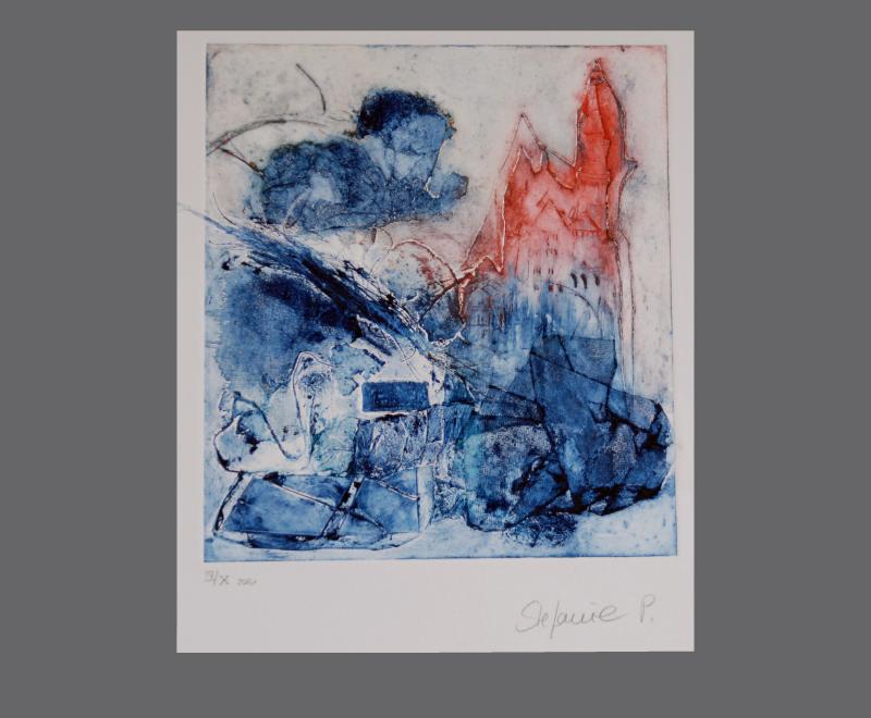 Ludwig Zyklus<br />Collographie. Es wurden 10 Abzüge gedruckt, in unterschiedlichen Farbausführungen, jeder Druck ist ein Unikat, Format ca. 26 x 29 cm