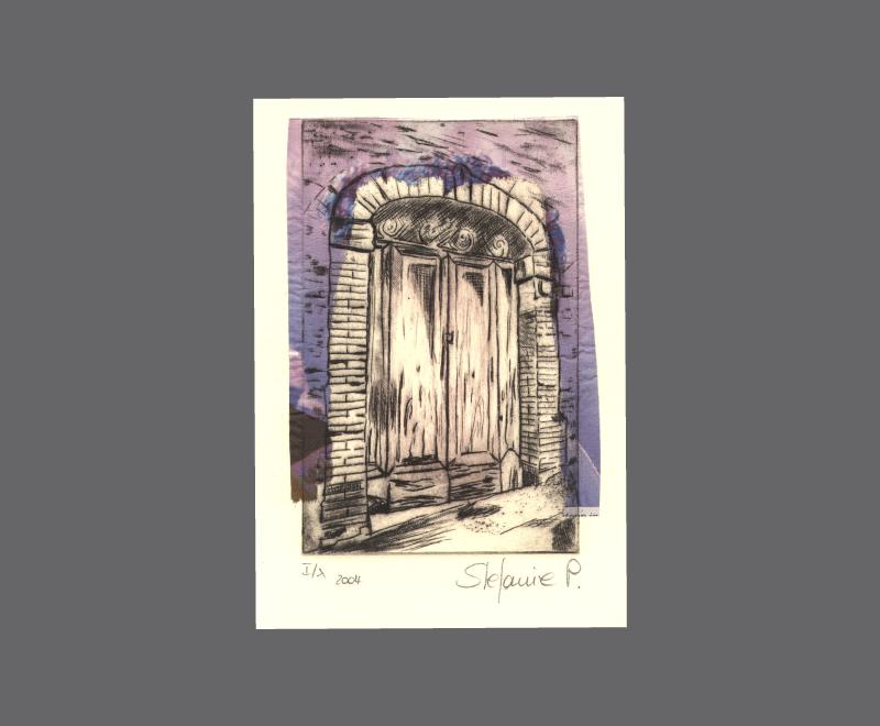 Italienisches Tor<br />Radierung mit Collage, Format ca. 11 x 15 cm