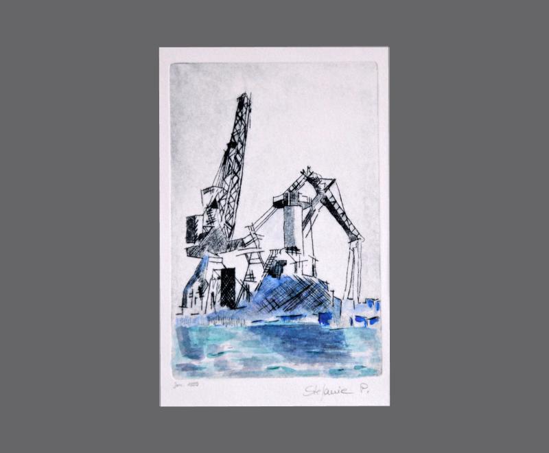 2 Kräne<br />Kaltnadelradierung mit Aquarell, ca. 14 x 23 cm