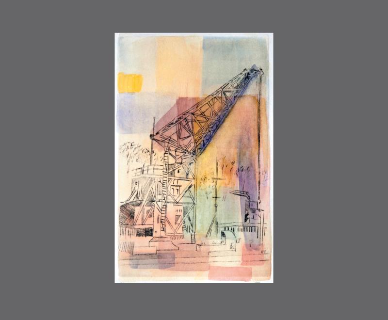 Kran im Hamburger Hafen<br />Kaltnadelradierung mit Aquarell, ca.  14 x 23 cm