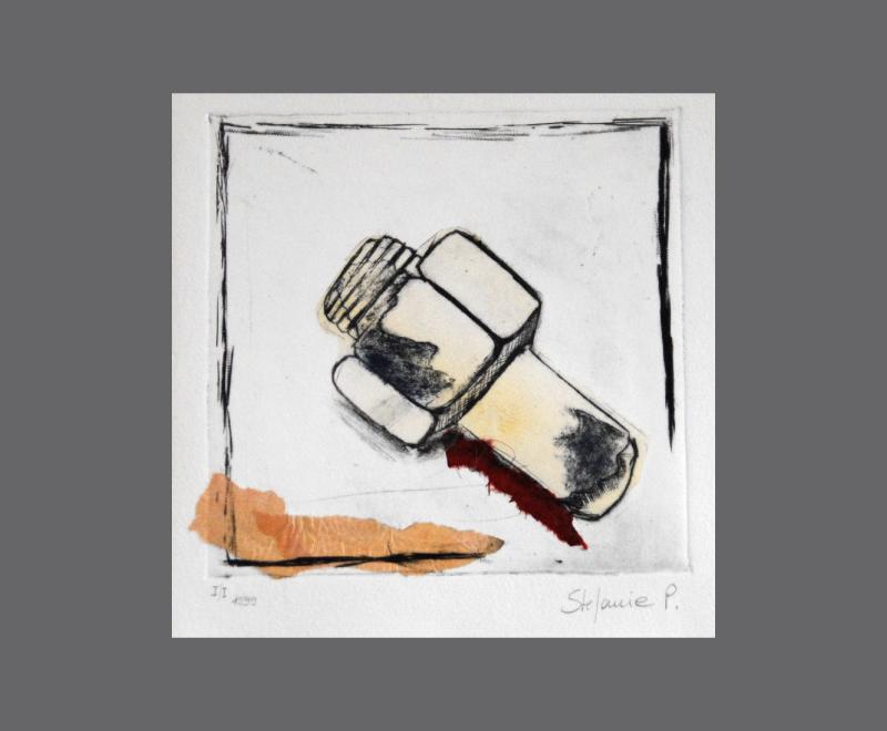 Schraube<br />Kaltnadelradierung mit Collage, ca.  25 x 25 cm