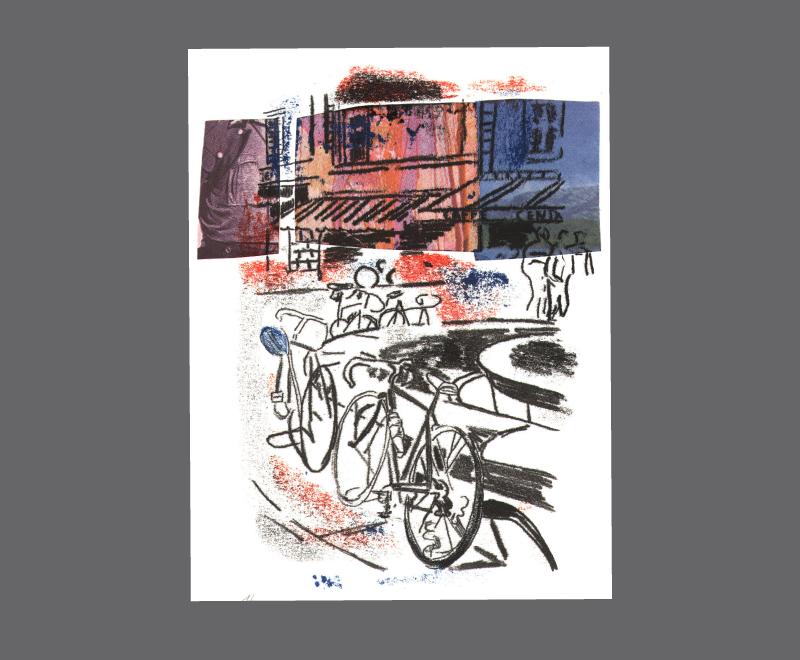Santarcangelo, Emiglia Romagna<br />Monotypie mit Collage, ca. 16 x 20 cm