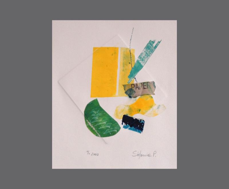 Ohne Titel<br />Monotypie mit Material- und Prägedruck, ca. 25 x 38 cm