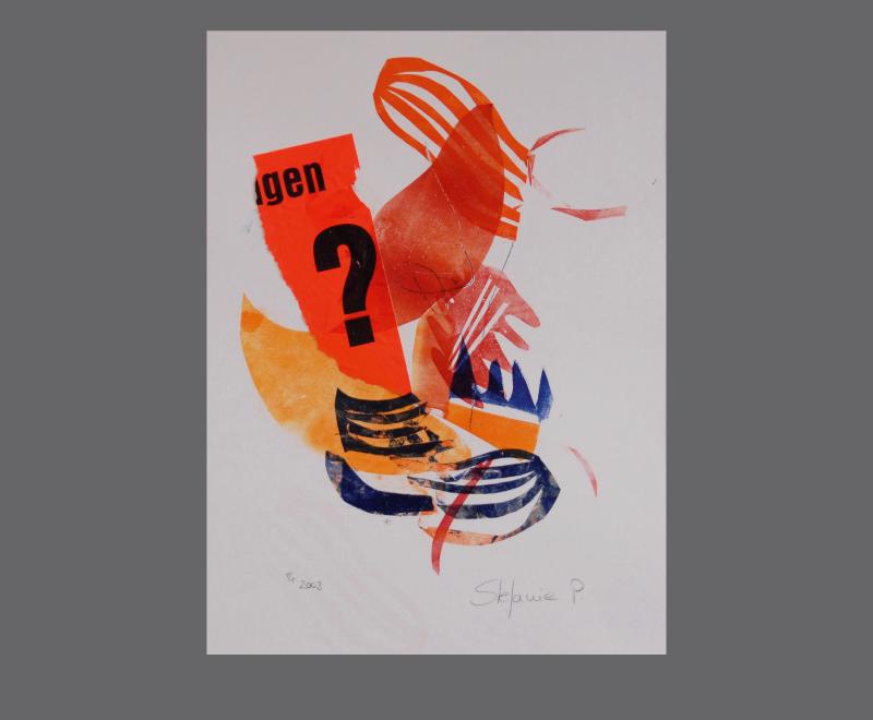 frag nur<br />Monotypie und Materialdruck mit Collage, ca. 28 x 38 cm