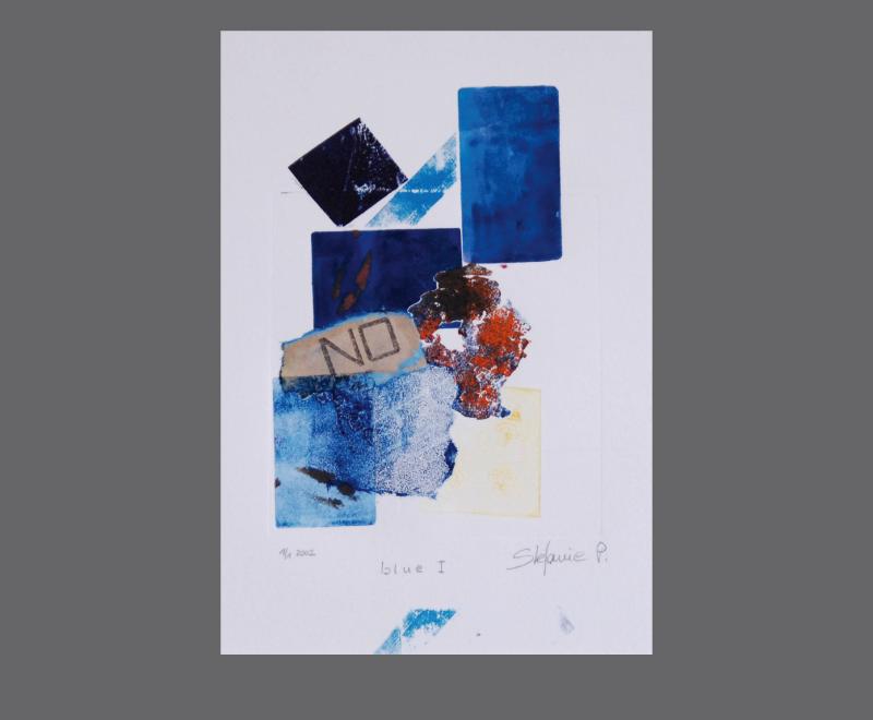 blue I<br />Monotypie mit Collage und Materialdruck, ca. 26 x 38 cm