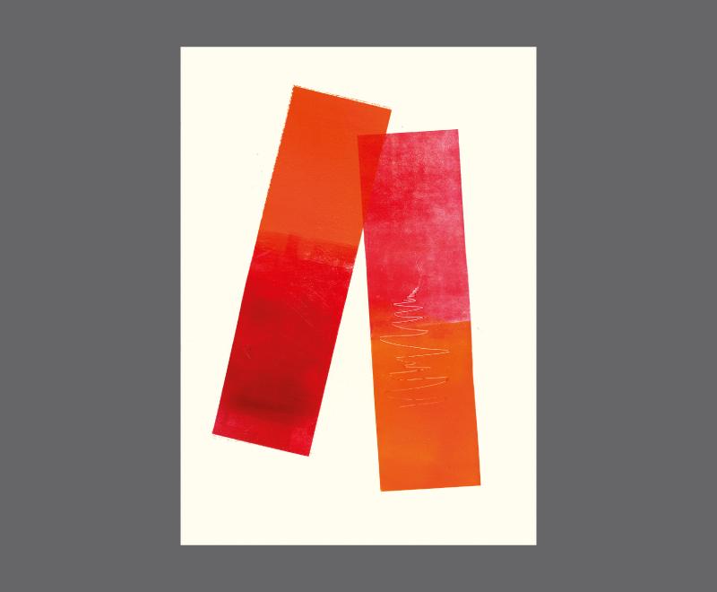 Ohne Titel<br />Monotypie und Materialdruck, ca. 28 x 40 cm