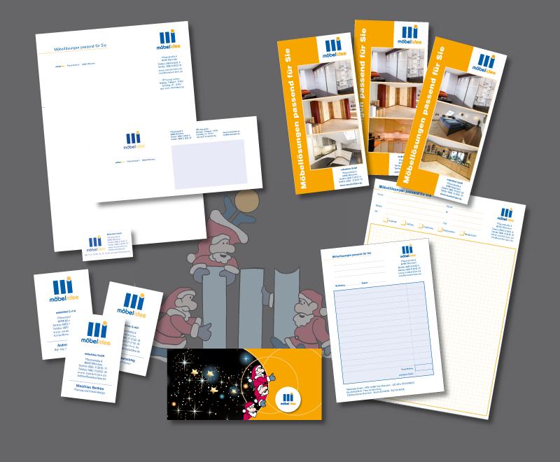 Geschäftsausstattung, verschiedene Flyer, Weihnachtskarte<br /> Auftraggeber: Möbelidee GmbH